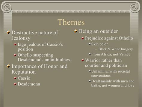themes used in othello othello background notes