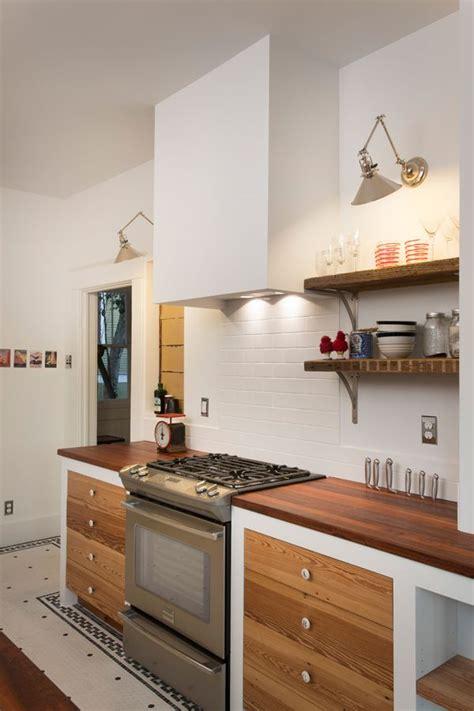 simple plaster range hood eclectic kitchen kitchen
