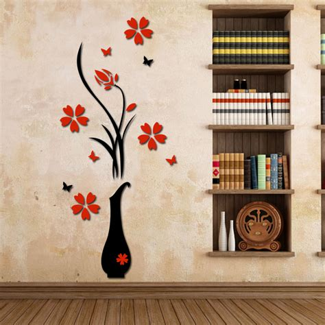 home interiors wall decor wall stickers acrylic 3d plum flower vase wall stickers