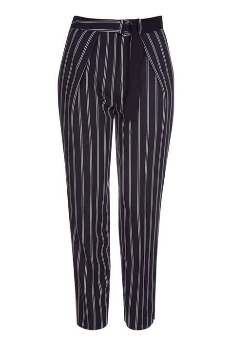 Striped Trousers striped belted peg trousers topshop