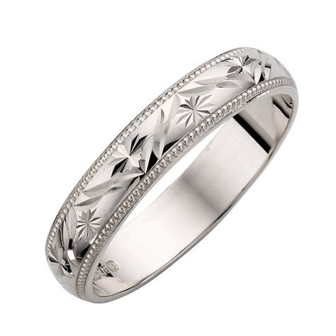 9ct white gold patterned wedding ring h samuel