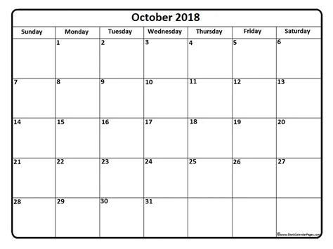 Calendã Outubro 2018 October 2018 Calendar October 2018 Calendar Printable