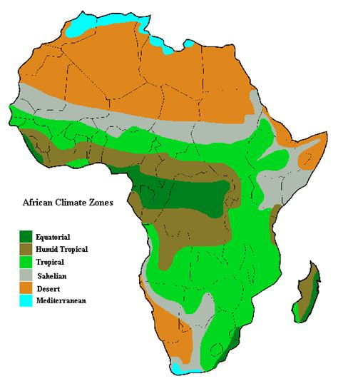africa zone map climate zones