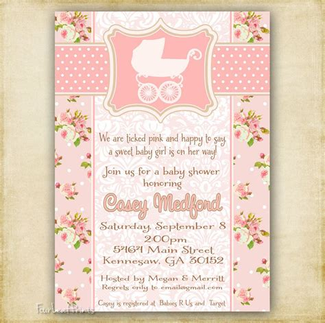 Vintage Invitations Baby Shower by Pink Shabby Chic Vintage Baby Carriage Baby Shower