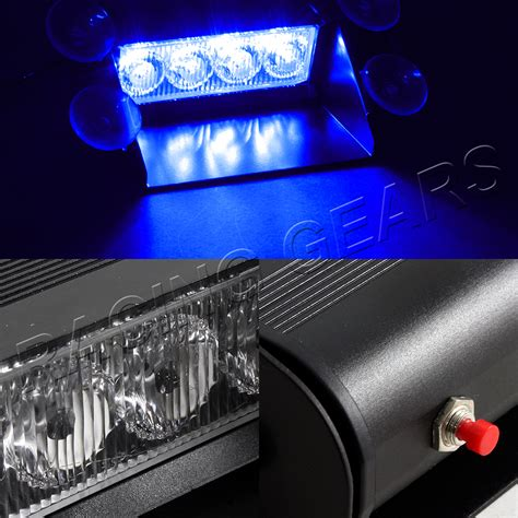Blue Led Strobe Light Bar 4 Led Blue Emergency Car Dashboard Warning Flash Strobe Light Bar Universal 9 Ebay