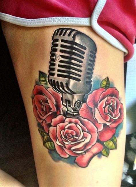 microphone and roses tattoo mic and roses microphones colors the o
