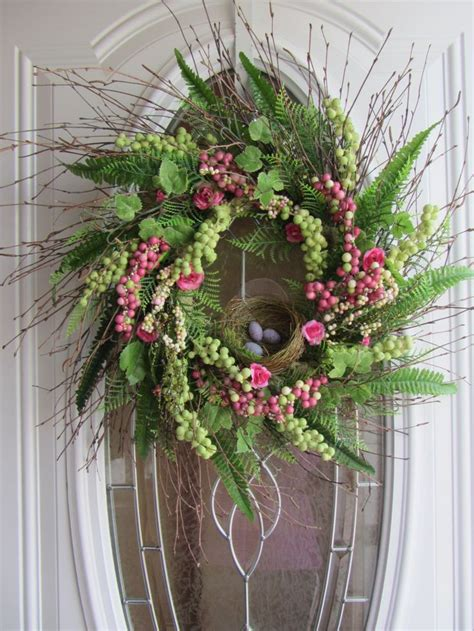 wreath for front door spring wreath easter wreath front door wreath bird