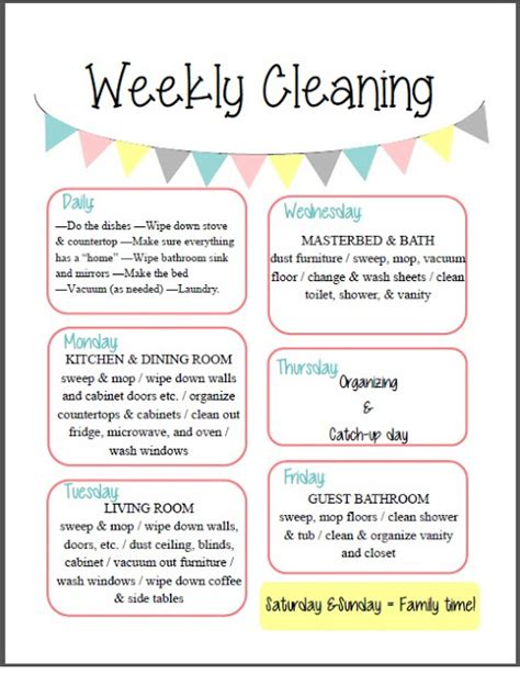 weekly cleaning calendar printable free quot weekly cleaning quot printable this cleaning schedule