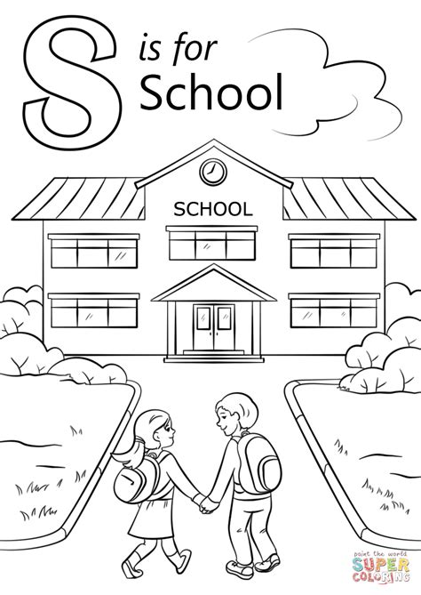 S Drawing Elementary School by Letter S Is For School Coloring Page Free Printable