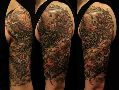 dragon half sleeve tattoo asian black and grey archives chronic ink