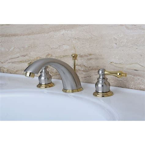 brass widespread bathroom faucet kingston satin nickel polished brass 2 hdl widespread