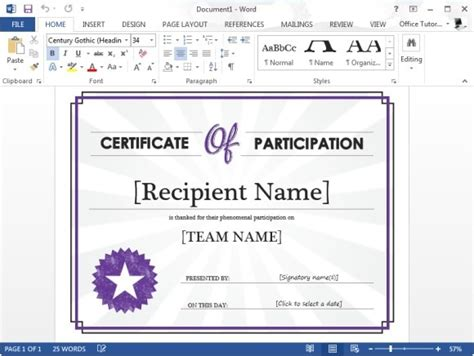 ms office certificate templates certificate of participation template for microsoft word