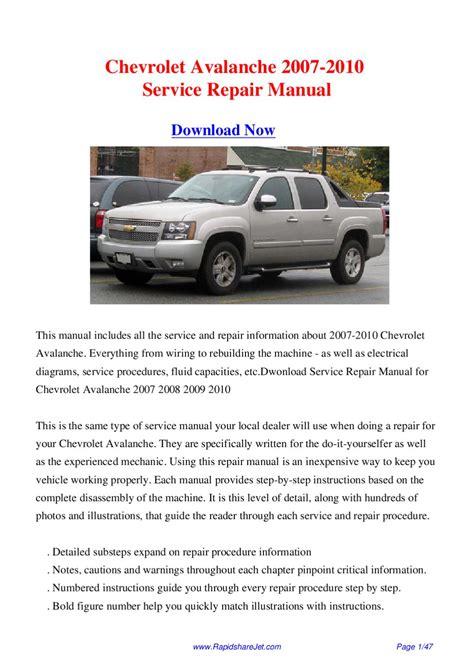 auto repair manual free download 2009 chevrolet avalanche interior lighting service manual car repair manual download 2007 chevrolet avalanche interior lighting