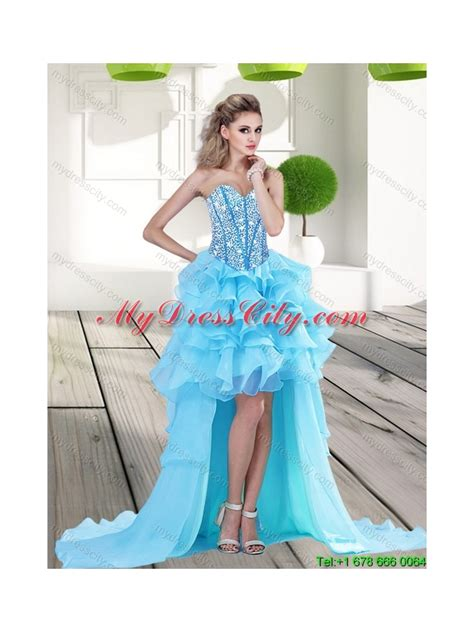Sweety Lace Dress Blue 18 Lovely 2015 2015 beautiful aqua blue high low prom dress with beading
