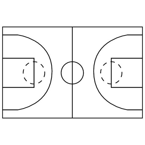 Basketball Court Image Free Vector 123freevectors Basketball Lines Template