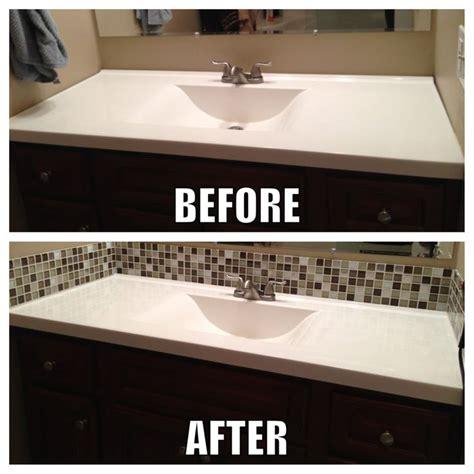 Bathroom Mirror No Backsplash Square Glass Tile Back Splash Makes A Big Difference In