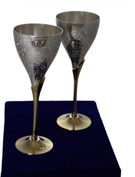 Carved Brass Silver Wine Glasses 2 Pcs Moghul