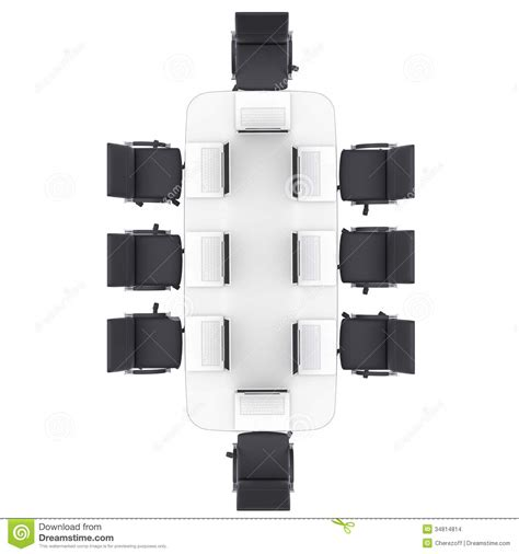 laptops on the office round table and chairs stock images
