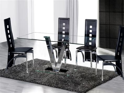 Dining Table And 6 Black Chairs In Clear Glass Homegenies Clear Glass Dining Table And 6 Chairs