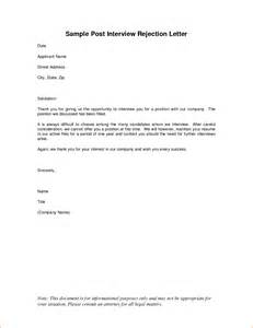 Thank You Letter After Interview Rejection 7 Thank You Letter After Rejection Rejection Letters
