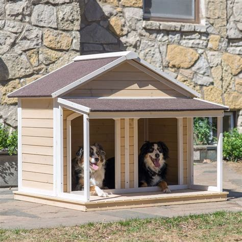 weatherproof dog house double dog house outdoor pet bed kennel doghouse duplex weatherproof covered med ebay