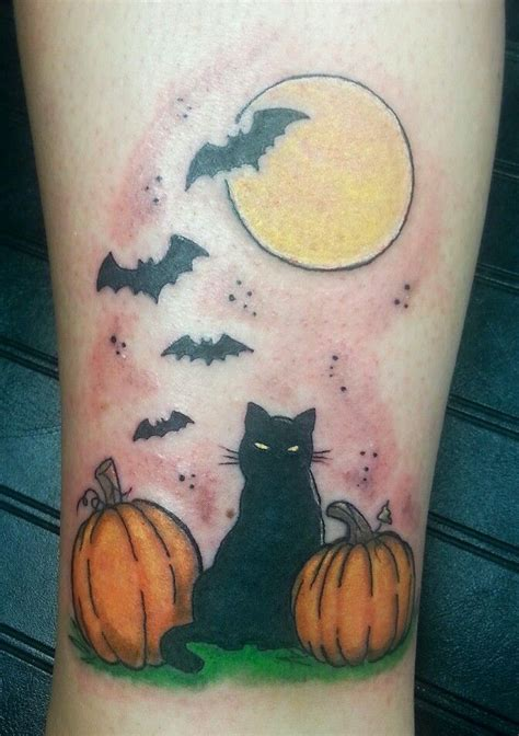 halloween tattoo designs cat cats and on