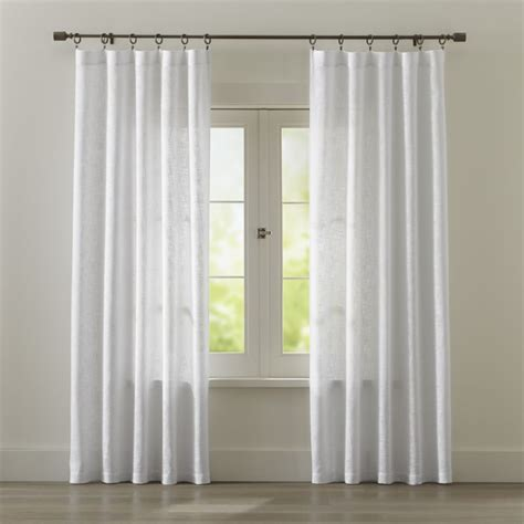 White Valance Curtains Lindstrom White Cotton Curtains Crate And Barrel