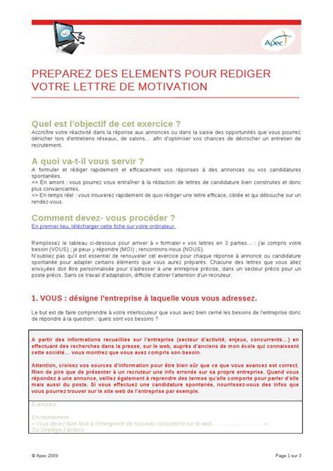 Conseil Lettre De Motivation Apec apec lettre de motivation candidature spontan 233 e comment