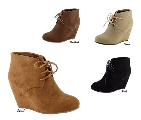 new micro suede chukka style lace up wedge heel