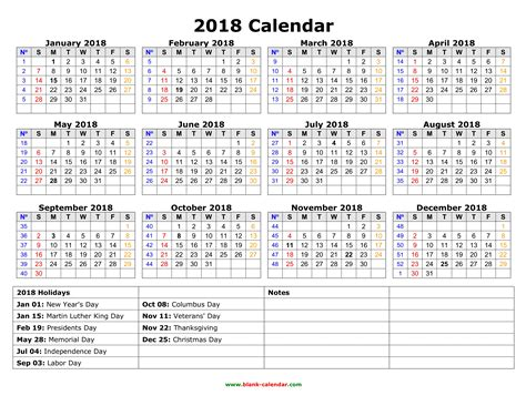 Printable Annual Calendar 2018