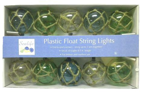 Nautical Retro Style Buoy Float Ball Rope Plastic String Glass Float String Lights