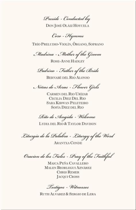 american wedding anniversary list spanish wedding program exles catholic wedding program