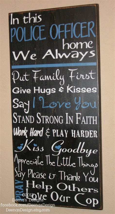 police officer home decor law enforcement wife police decor distressed wall by