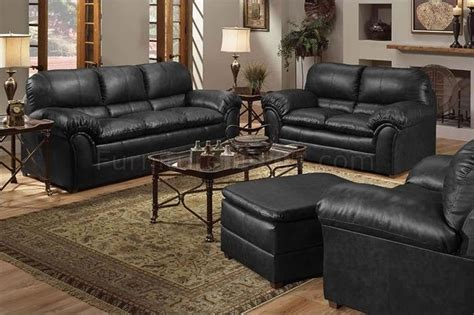 black bonded leather contemporary sofa loveseat set