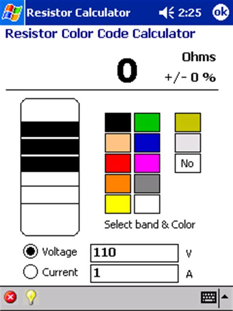 resistor color code calculator program resistor color code calculator pocket pc software