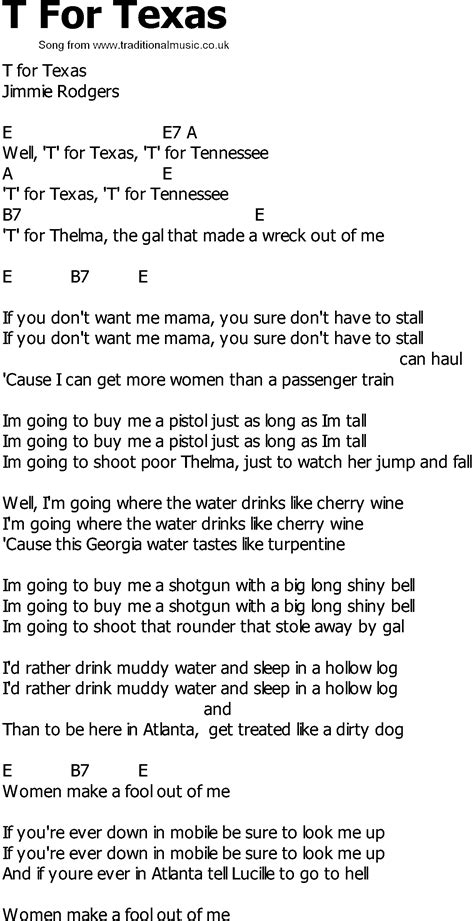 song t old country song lyrics with chords t for texas