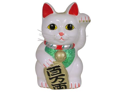 Kitchen Canisters Ceramic Sets white chinese lucky cat coin bank