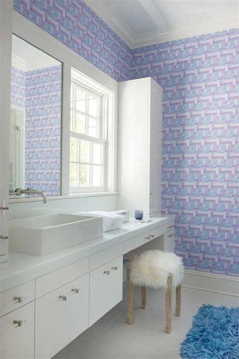 custom personal purple wallpaper  girl bathroom