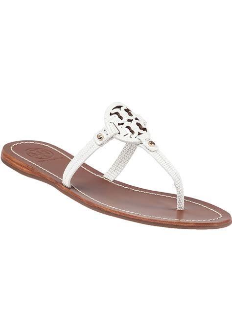 Minnie Flat White burch mini miller flat sandals in white lyst