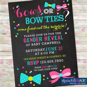 gender reveal invitation bows or bowties invite gender reveal idea printable invite