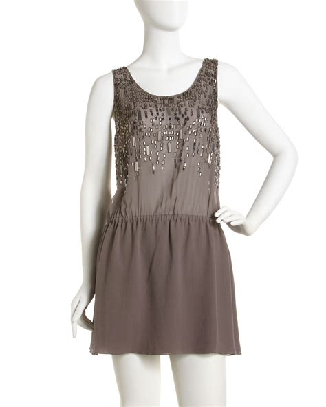 beaded shift dresses joie samara beaded shift dress in brown lyst