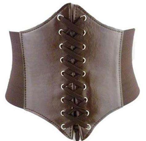 brown steunk underbust corset belt with lacing