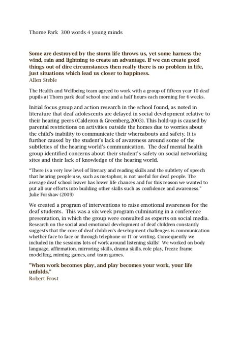 300 400 Word Essay by Thorne Park 300 Words