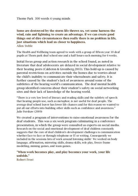 Essay 300 Words Sle by Thorne Park 300 Words Draft 1