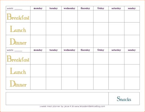 28 two week meal planner template weekly meal