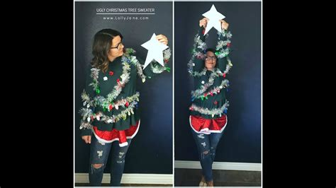 christmas jumper tree decorations pattern how to make an ugly christmas tree sweater youtube