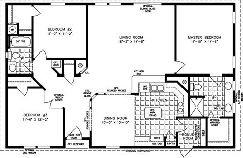 Single Story Open Concept Floor Plans by 1400 To 1599 Sq Ft Manufactured Home Floor Plans