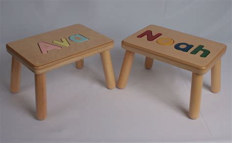 Name Puzzle Step Stool by Wooden Name Puzzle Step Stool Bench Birthday Gift Wood