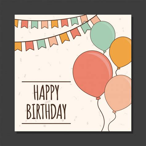 Easy Birthday Card Template by Simple Birthday Greeting Card Template Vector Premium