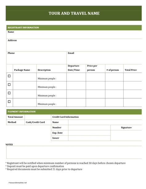 tour and travel booking form